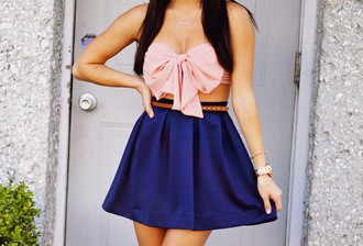 blouse crop tops bandeau bows pink top bow bandeau earphones