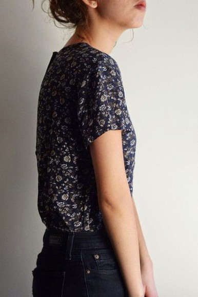 navy blouse floral t-shirt hipster