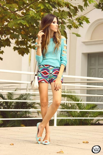 sweater cut-out shorts outfit spring summer shoes bag messenger bag handbag girly multicolor turquoise fashion jewelry high waisted shorts long sleeves accessories jewels