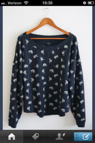 sweater cats tumblr crewneck navy long sleeves