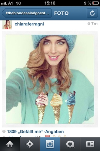 sweater clothes cute t-shirt cardigan beautiful amazing blue ice cream glitter colorful knitwear sweet dress