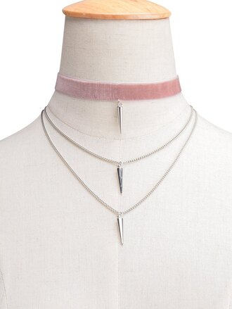 jewels choker necklace pink trendy light pink silver girly cute boho velvet zaful