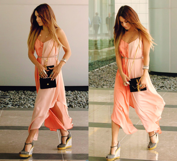 jumpsuit vannessa hudgens ombre hair peach dress jewelry wedges peach peach dress maxi dress espadrilles
