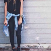 blouse,jacket,denim,shirt,tumblr,outfit,shoes,pants,t-shirt,necklace,hipster,pretty,jean.,all black everything,jewelry,jewels,top,fashion,tumblr shoes,tumblr outfit,style,winter boots,black,black t-shirt,cute,jeans,tights,leggings,black top,denim shirt,blue shirt,light shirt,cardigan,make-up,styleeee.,grunge,indie,ripped jeans,denim jacket,gold jewelry,boots,ankle boots,chambray top,black shirt,demin shirt,black jeans,leather jeans,black boots
