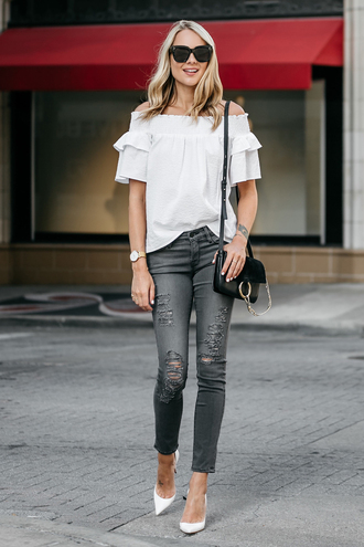 fashionjackson blogger top jeans shoes bag sunglasses jewels blouse off the shoulder top shoulder bag chloe bag pumps high heel pumps