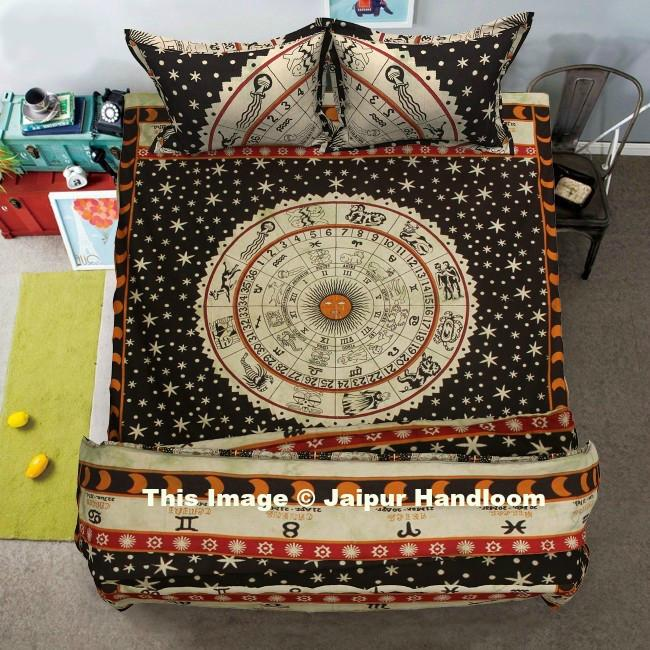 4 PC Doona Cover Set With Bedspread Indian Astrology Duvet Quilt Cover Blanket
