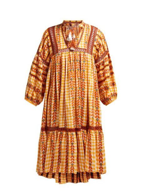 Dodo Bar Or - Elena Embroidered Cotton Midi Dress - Womens - Yellow Multi