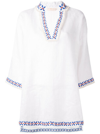 tunic embroidered women red top