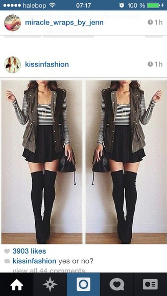 dress cute tumblr outfit clothes back to school knee high socks stripes