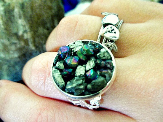 The Star Dust Ring - Pyrite and Rainbow Titanium Quartz - Silver Plated Filigree Detail Ring - Adjustable Size Band