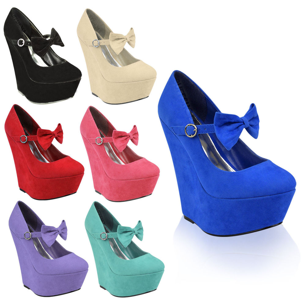 Ladies womens party bow strap high heels platforms wedges pumps court shoes size