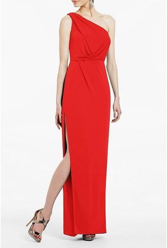 Bcbg snejana one shoulder evening gown in red