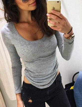 grey top top grey cleavage long sleeves topshop tank top cute top sweat the style sweater sweatshirt polo sweater poloneck outfit outfit idea fall outfits tumblr outfit summer outfits winter outfits streetwear streetstyle sexy sexy sweater girl shirt white top black crop top summer top black top flannel shirt boho shirt blue shirt tumblr shirt t-shirt