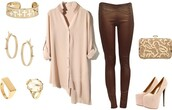 blouse,neutral,brown,gold,high heels,clutch,crosses,skinny jeans,leather,cream,jeans,shoes,bag,jewels