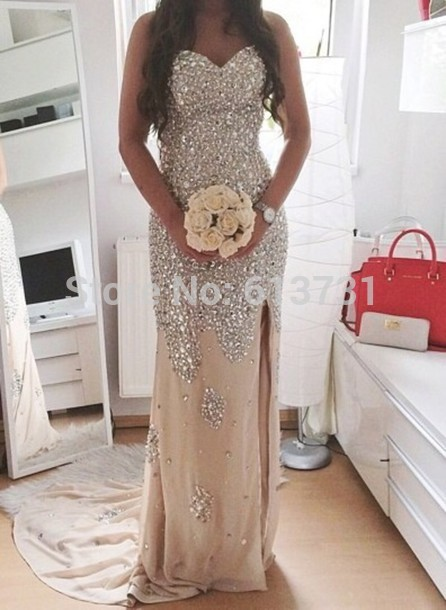 Aliexpress.com : buy real sample sweetheart sparkle champagne crystal beaded chiffon long evening gowns prom dresses designer 2015 with slit side from reliable design a dress suppliers on suzhou babyonline dress store