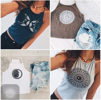 top mandala moon and sun tank top moon blue top grey tank top white tank top crop tops white top