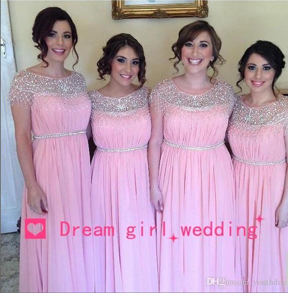 beaded beaded dress evening dress long prom dress bridesmaid bridesmaid formal dresses long pink dress cap sleeve dress chiffon dress