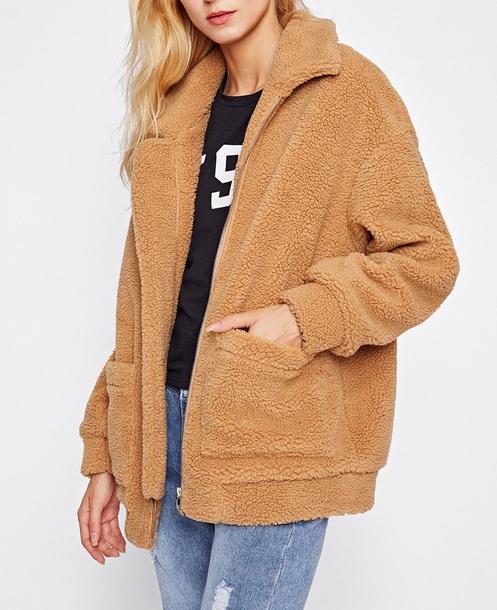coat girly brown warm fleece fur fur coat comfy h and m pockets