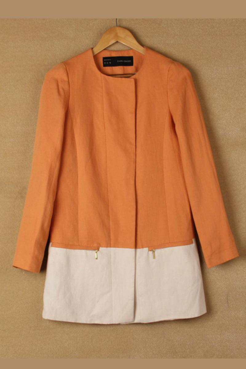 Contrast Color Joint Round Neck Loose Leisure Overcoat,Cheap in Wendybox.com