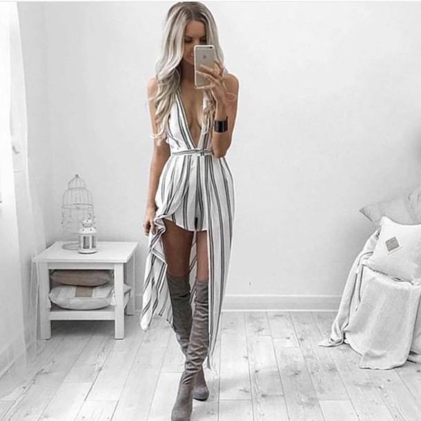 a2aeaefb941 romper romper stripe playsuit stripes shorts cape skirt maxi skirt maxi  dress knee high boots