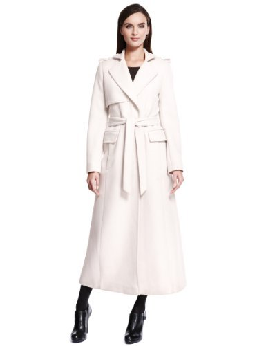 Autograph Luxury Wool Rich Long Belted Trench Coat with Angora - Marks & Spencer