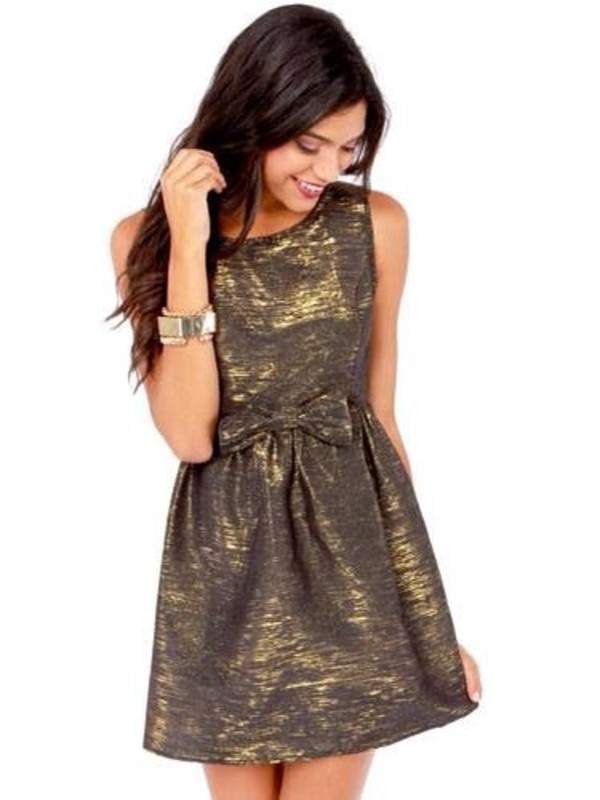 dress gold black bow cute
