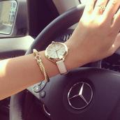 jewels,watch,leather watch,gold watch,gold,pink,bracelets,womens jewelry,white watch,cute