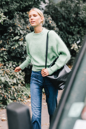 sweater,tumblr,streetstyle,mint,knit,knitwear,knitted sweater,bag,black bag,denim,jeans,blue jeans