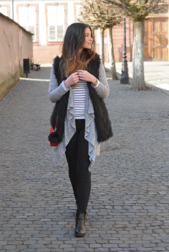 cardigan raspberry jam stripes striped top shirt jacket faux fur vest faux fur vest jeans shoes ankle boots boots booties bag jewels keychain bag accessories fur vest asymmetrical grey cardigan long sleeves black jeans black boots fall outfits black fur vest blogger