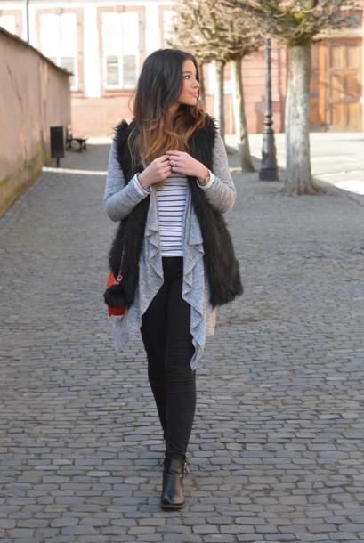 65ba5b34c7 cardigan raspberry jam stripes striped top shirt jacket faux fur vest faux  fur vest jeans shoes