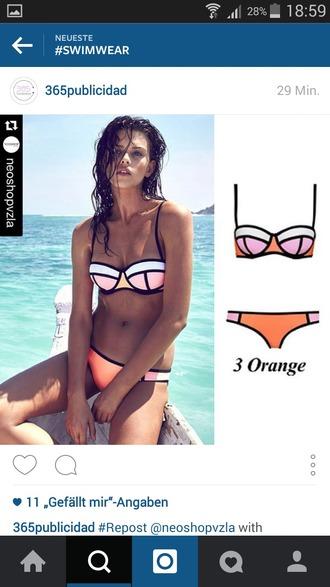 swimwear orange pink