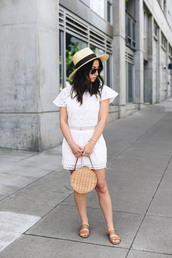 romper,hat,tumblr,lace,lace romper,white romper,bag,round bag,sun hat,straw hat,sandals,flat sandals,shoes