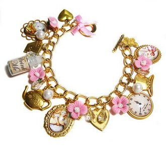 jewels gold alice in wonderland pink flowers cute