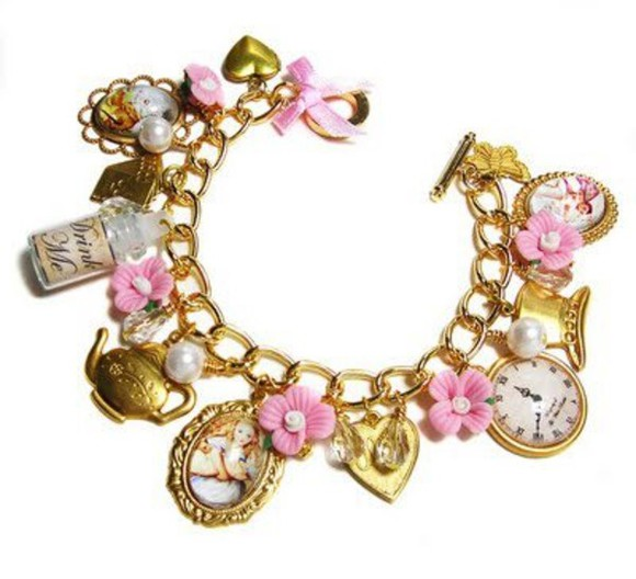 jewels golden alice in wonderland pink flowers cute