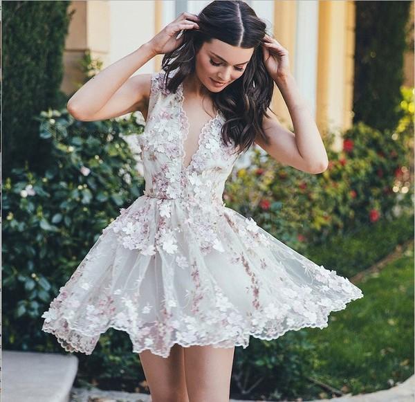 dress homecoming dress floral dress deep v-neck dress short gown 2017 new arrival short homecoming dress pinterest