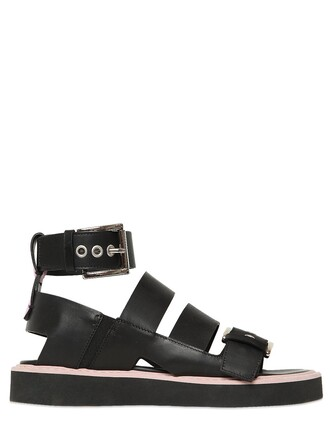 sandals leather sandals leather black pink shoes
