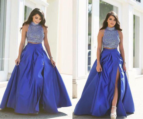 Dress Prom Dress Blue 2 Piece Prom Dress Leg Slit Blue Dress