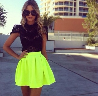 shirt neon skirt neon coloured skirt skirt yellow skirt skater skirt top
