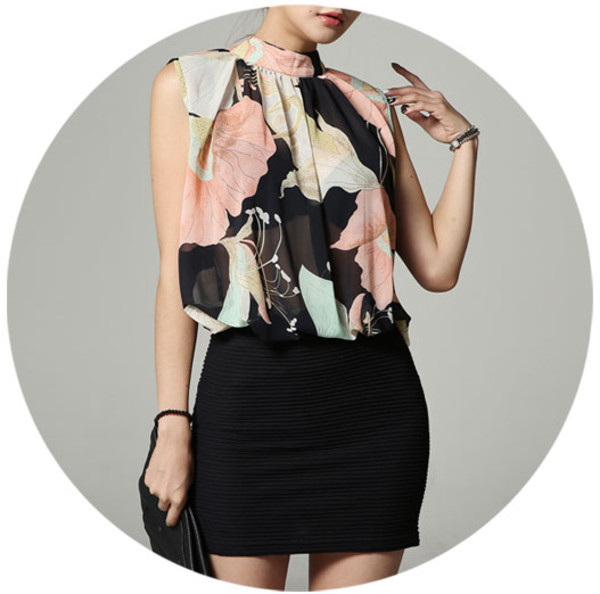 blouse sleeveless flowers