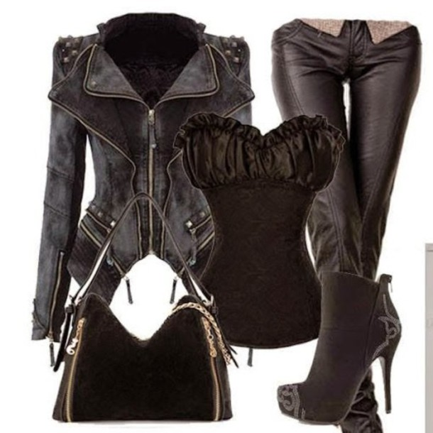 shoes jacket top boots bag pants leather blouse