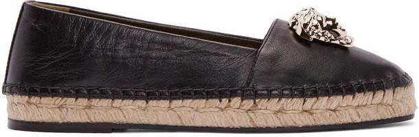 VERSACE espadrilles leather black black leather shoes