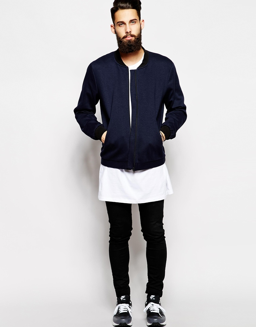 ASOS Tailored Bomber In Jersey at asos.com