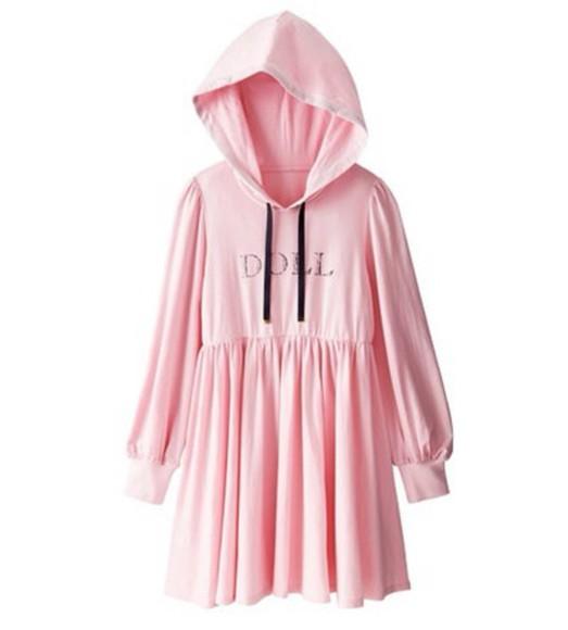 dress shirt dress kawaii pink dress hoodie cute dress