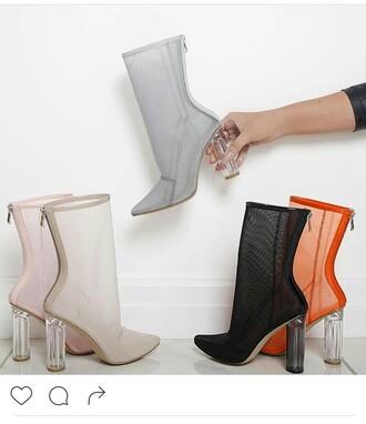 shoes pink mesh heels see through heels clear nude high heels high heels boots