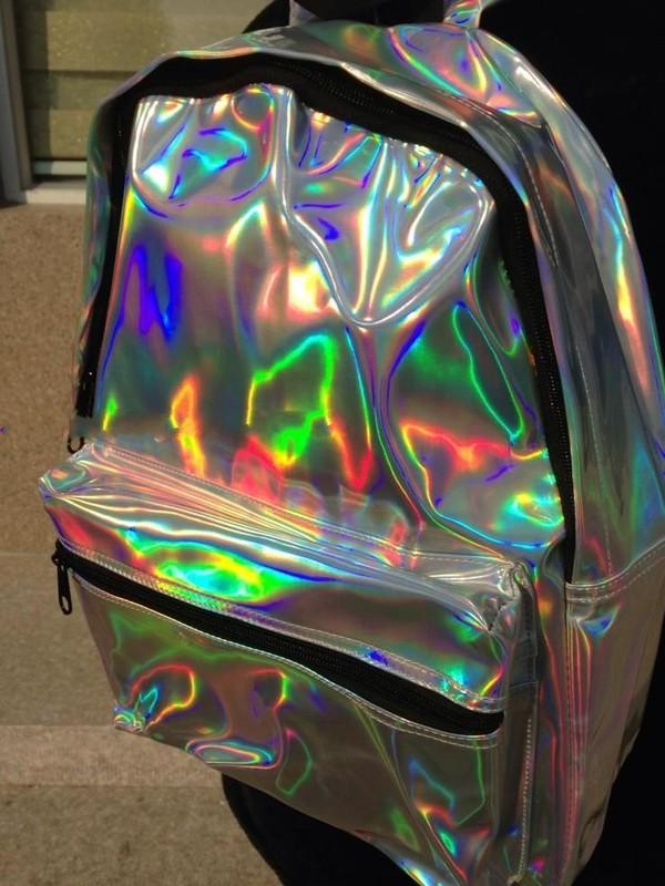 bag harajuku hologram laser backpack pu silver space backpack female student school bag hologram laser backpack