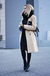 coat,fur scarf,black dress,brown button coat,black tights,heel boots,blogger