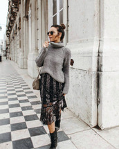 sweater,tumblr,grey sweater,knit,knitwear,knitted sweater,turtleneck,turtleneck sweater,dress,midi dress,sequins,sequin dress,sweater over dress,boots,black boots,sunglasses