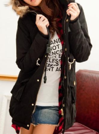 jacket black parka fur lined hooded