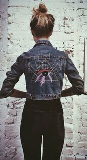 jacket,jeans,denim jacket,embroidered,eye,patched denim,patch,cropped jacket,edgy,bohemian,blue