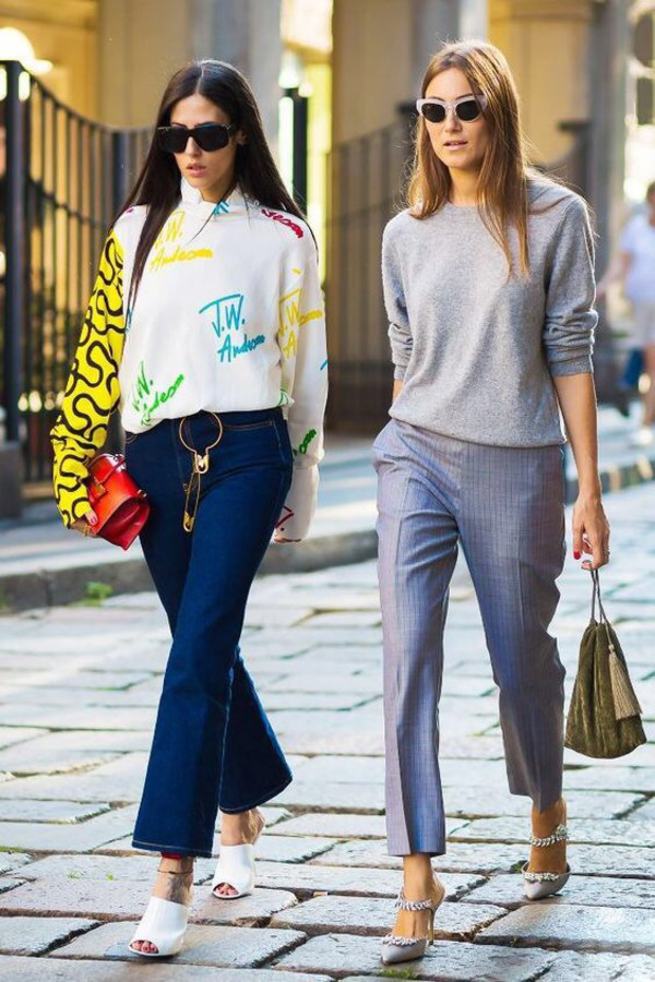 0890eab1c07a9 shoes mules heels pants grey pants sweater grey sweater shirt sunglasses  embellished jeans denim flare jeans